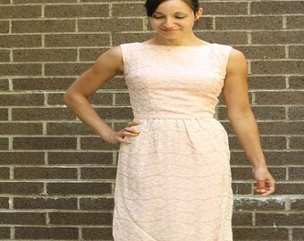 Stunning Silk Vintage Pink Formal Dress Lurex Threaded Swirl and Branch Print Dress Small/Medium 1960