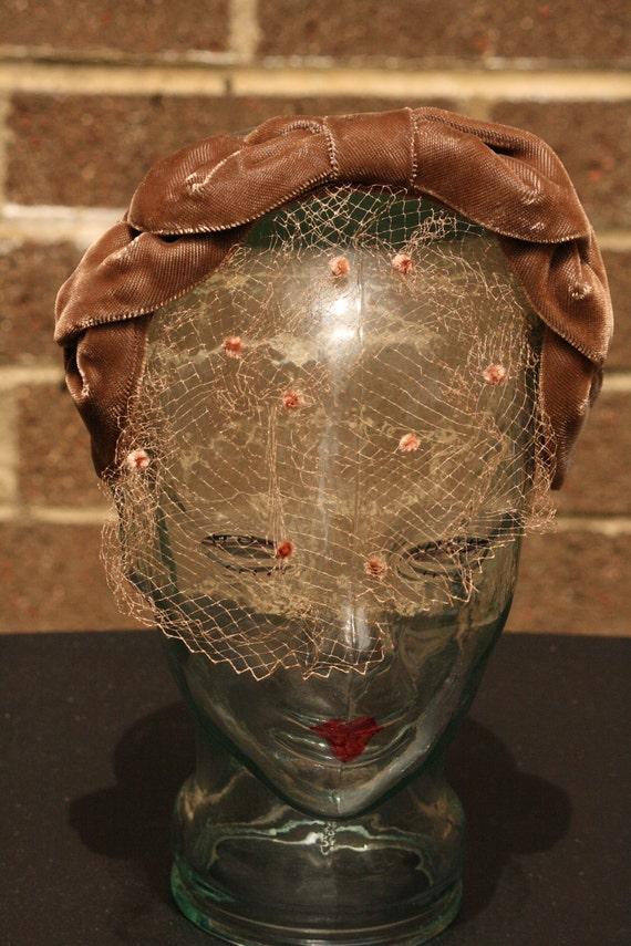 RESERVED Women's Vintage Brown Velvet Headband Veil Mesh Dots Bow 1950s Fascinator