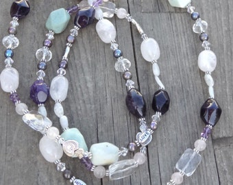 Faith Hope Love Beaded Necklace Amazonite, Rose Quartz, Amethyst, Crystal, Crystal Quartz, Moonstone, Pearl, Pearls, Freshwater Pearls