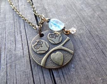 Bronze Owl Bird  Birds Heart Blue Quartz bead crystal Necklace Pendant Brass Handmade Jewelry Beading