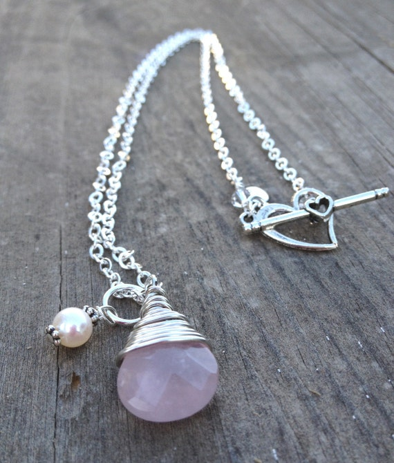 Silver Pink Rose Quartz wire wrapped pendant pearl charm necklace jewelry handmade Bridal Wedding Bridesmaid