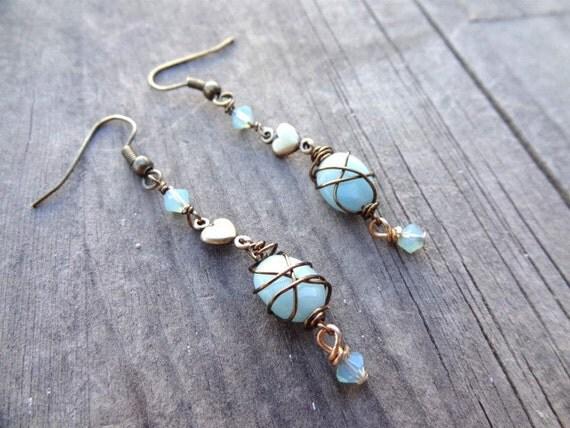 Bronze Blue Amazonite Crystal Dangle Heart Love Bead Earrings Handmade Wire Wrap Brass Jewelry