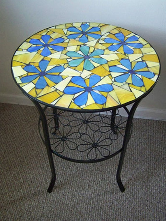 19 Round Flowers Mosaic Side Table On Sale Now Only