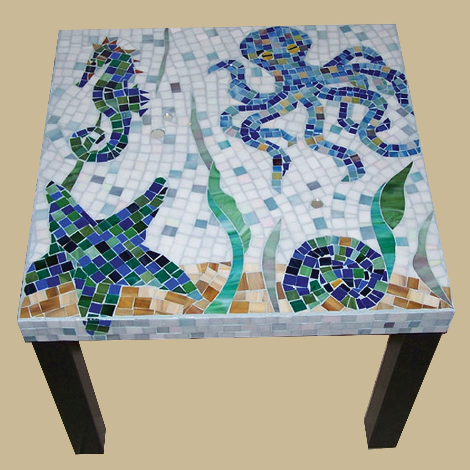 Handmade Sea Creatures Glass Mosaic Side TableOn SALE NOW
