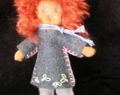 "OOAK Poseable, dollhouse size doll (approximately 5 1/2""), curly red hair."