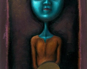 Lowbrow Pop Surrealism limited edition art print by Pete Gorski titled: Waiting For Inspiration
