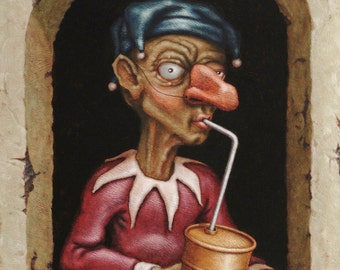 Lowbrow Pop Surrealism limited edition art print by Pete Gorski titled: Fossil Fool