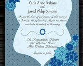 5x7 Dots and Flowers Wedding Custom Printable Invitation