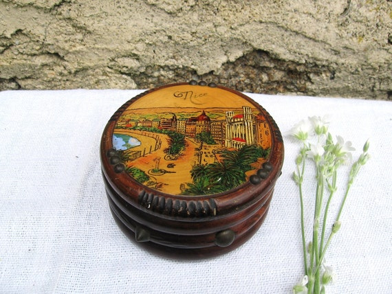 Vintage souvenir hand painted wooden box from Nice