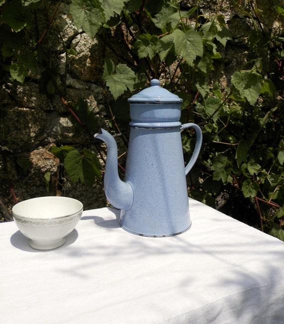 Vintage French sky blue enamelware coffee pot