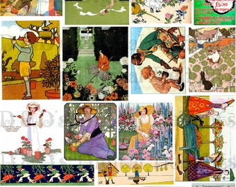 Glorious VINTAGE GARDENING Illustration. Digital COLLAGE. Digital Download.