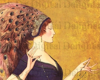 Stunning Deco Magazine Cover/VINTAGE Digital ILLUSTRATION/Artist Benda