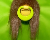 BPA-Free Brunette Hairy Mustache Pacifier-Binky, Prop, Green, Yellow, Baby, Infant, Baby shower, Gift, Non-Toxic,costume, Holiday, Registry