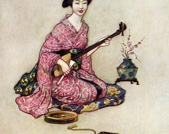 Japanese Geisha Fabric Block She Plays Samisen - Repro Warwick Goble