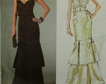Dress, Evening Gown by Badgley Mischka - 2000's - Vogue Pattern 2963 Uncut Sizes  18-20-22   Bust 40-42-44""