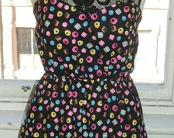 Baylis & Knight 'Liquorice Liquorish Allsorts' SWEETIE Lace Top Retro Mini Short Dress 70's Cute