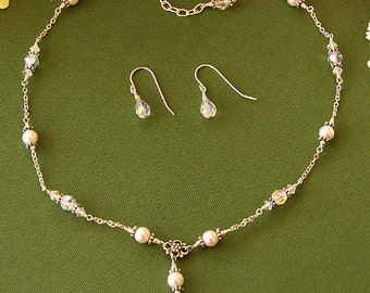 Pearl Jewelry Set Bridal Necklace and Earrings Wedding Jewelry Swarovski Crystals and Pearls