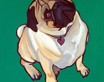 DOG PRINT- Pug - Green Background- Signed by Artist A.V.Apostle