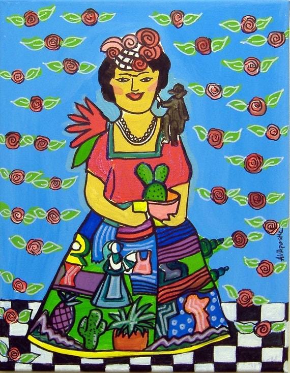 Mexican Folk Art-CLAY FRIDA- PRINT Signed By Artist A.V.Apostle