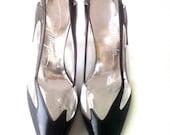 Vintage 1980's Thierry Mugler Black Leather & Clear Vinyl Sling-Back High-Heels: