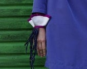 olivia / white leather cuff with navy blue and purple ribbon / statement cuff / fabric jewellery
