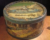 RESERVED - Large Vintage English Coronation Tin with Pretty Blue Patina - A Royal Treat