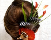 "Deposit for Tiffany - Tropical Hair Accessory, Orange Purple Green Yellow Pageant Hair Clip - ""Isle of Capri"""