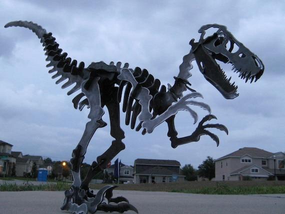 Steel Dinosaur Skeleton Velociraptor Metal Puzzle Kit Plasma Cut