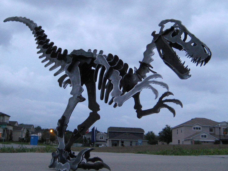 Steel Dinosaur Skeleton Velociraptor Metal Puzzle Kit Plasma