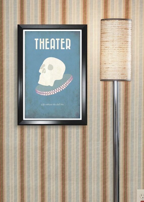 Theatre 11x17 minimalism poster print - Graduation, Teacher Gifts - Home & Dorm Decor