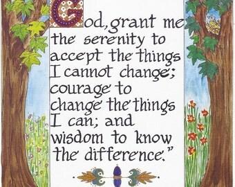 Serenity Prayer Art Print//8 1/2 X 11 Art Print//Traditional Prayer Quote