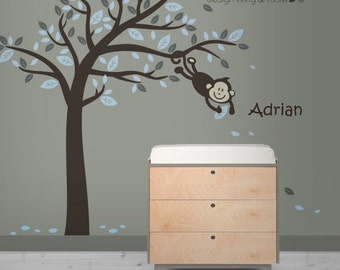 Wall Decals - Monkey in tree w/ Personalized Decal - 0054