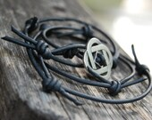 Wrapped / Knot Upcycled Leather Bracelet - Barbed Wire, Halloween