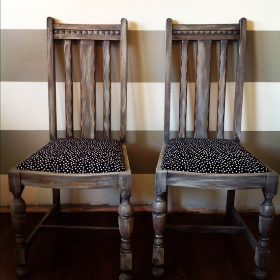 Saved for Julianna-Distressed Black and White Polka Dot Vintage Dining Room Chairs