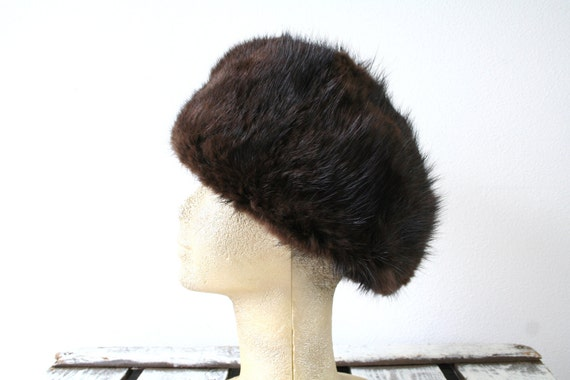 "Russian style hat, vintage brown mink fur hat, deep hat, size 23"" (58cm), womens mens winter fashion, contemporary fashion, unisex"
