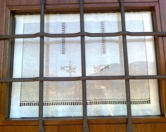 Irish Linen Curtains Linen Curtain Drawn Thread Workpulled