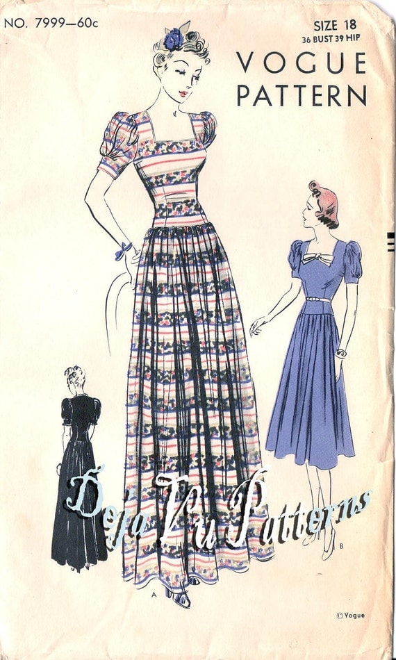 Vogue 7999 Vintage 1930s Dropped Waist Dress Sewing Pattern
