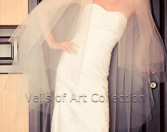 NWT 4T Knee Semi-Waltz Bridal Wedding Veil Cut Edge VE183 white ivory