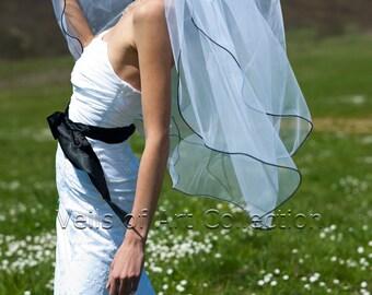 """2T Fingertip Bridal Wedding Veil 1/8"""" Black Satin Cord Trim VE221 white, ivory NEW CUSTOM VEIL"""