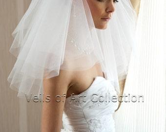 4T Shoulder Bridal Wedding Veil Cut Edge VE176 white or  ivory