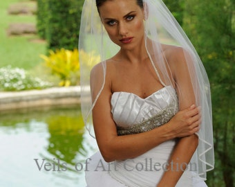 Designer One Tier Embroided Bridal Wedding Veil Fingertip Style VE304 NEW CUSTOM VEIL