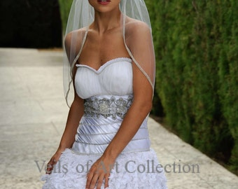 Designer One Tier Embroided Bridal Wedding Veil Fingertip Style VE306 NEW CUSTOM VEIL