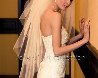 3T Fingertip Bridal Wedding Veil Cut Edge VE202 white or ivory
