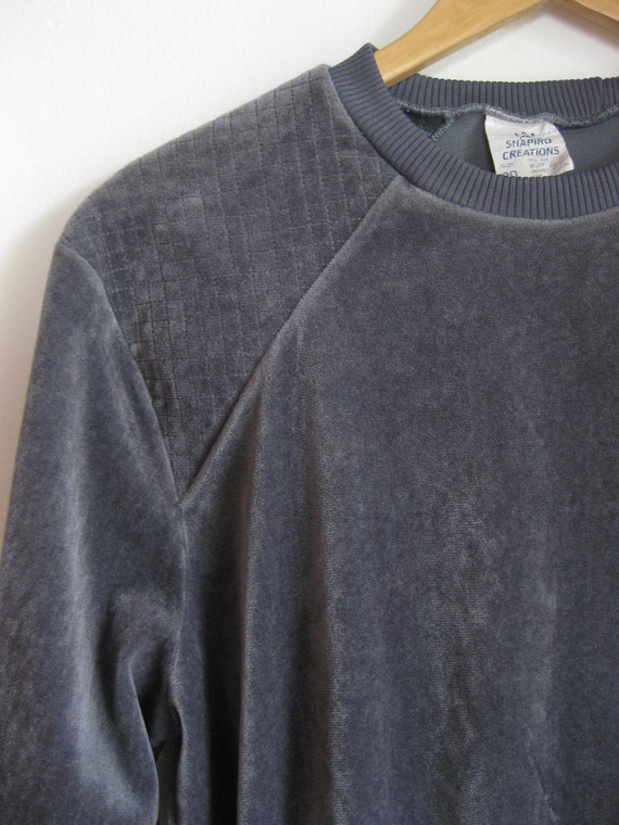 Grey, velour sweater/pullover with grid detail. Size M to L.