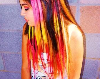 Hawaiian Sunset Hair Extensions, Human Hair Extension, Clip in Rainbow, Dip Dye, Ombre Hair