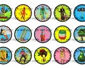 "INST-D Loteria Bottlecap Digital Images - Sheet of 4x6 - You Print - 1"" Circles ( Mexican Bingo )"