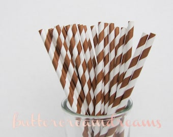 CLEARANCE - Striped Paper Drinking Straws (25) - CHOCOLATE BROWN - Includes Free Printable Straw Flags