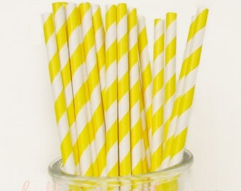 CLEARANCE - Striped Paper Drinking Straws (25) - Bright YELLOW - Includes Free Printable Straw Flags