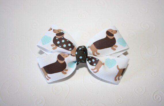 Wiener Dogs Classic Boutique Bow - 3 inches - Puppy Hair Clip - Aqua - Brown