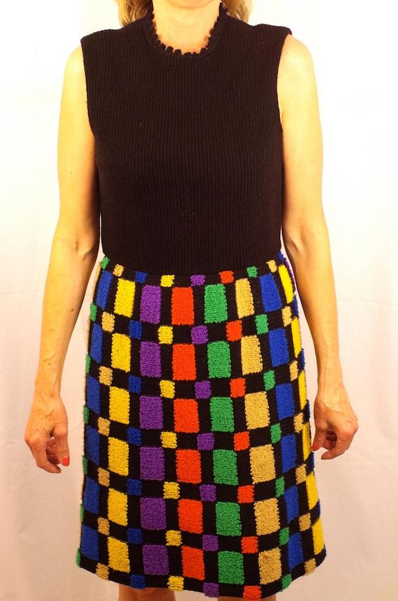 Vintage 1960s Mod Knit Junior Aim Twiggy Sheath Dress (Women's 2/4)